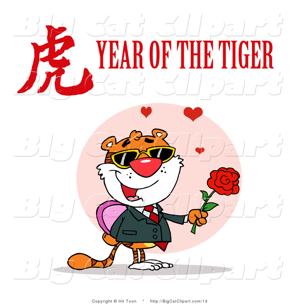 A Romantic Tiger With A Year Of The Tiger Chinese Symbol And Text By