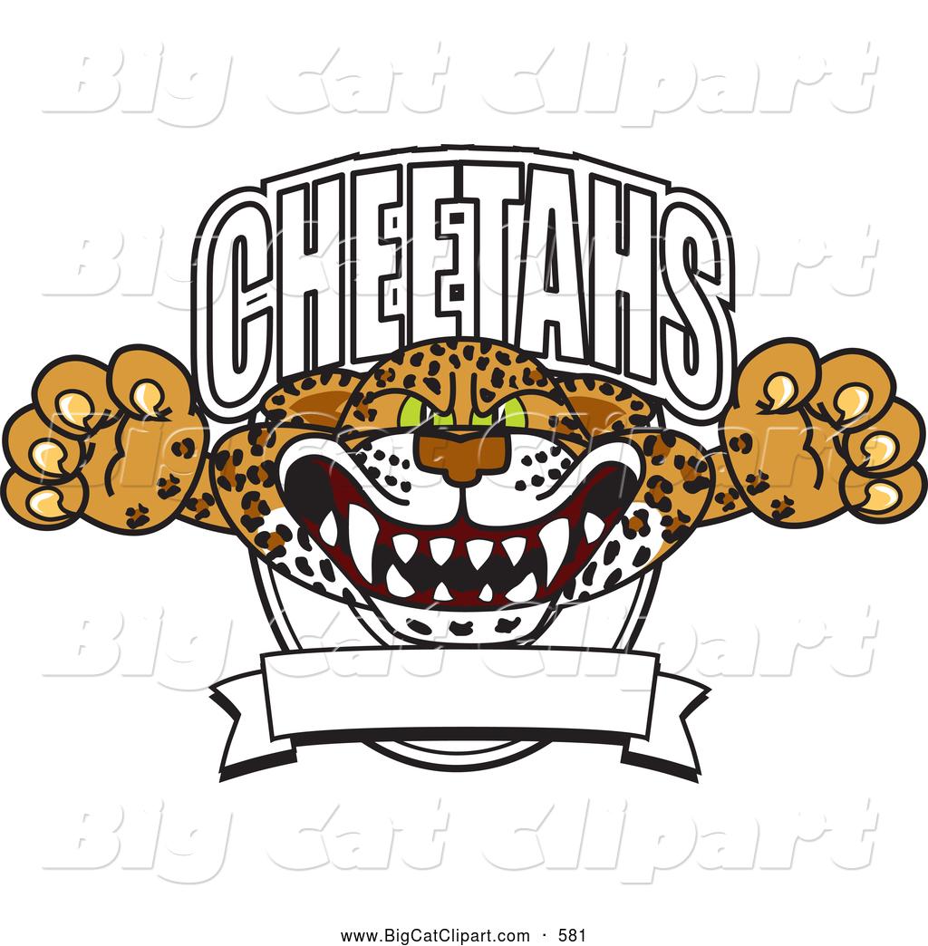 Big Cat Cartoon Vector Clipart of a Aggressive Cheetah School ...