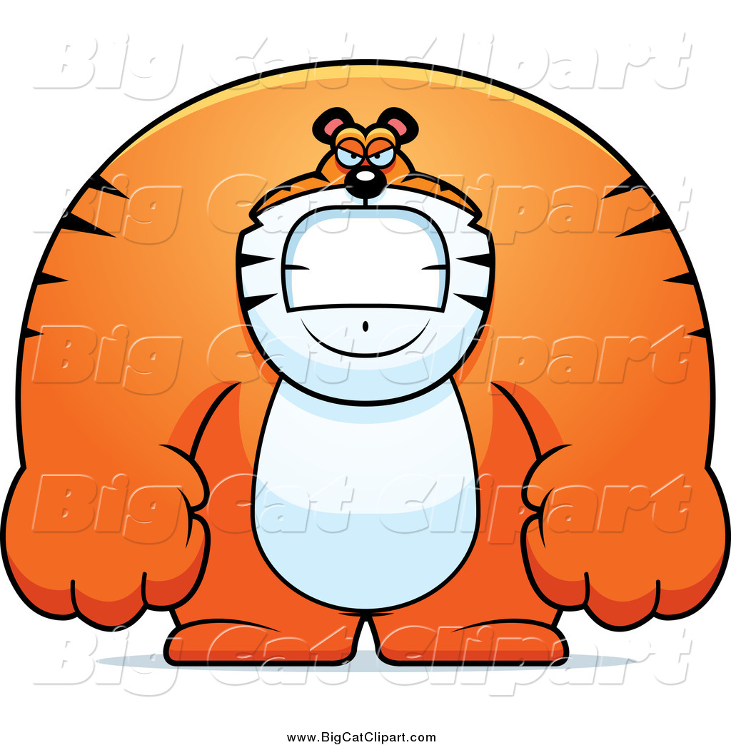 big cat cartoon vector clipart of a angry huge tiger by wildcats clip art in black and white wildcat clipart images