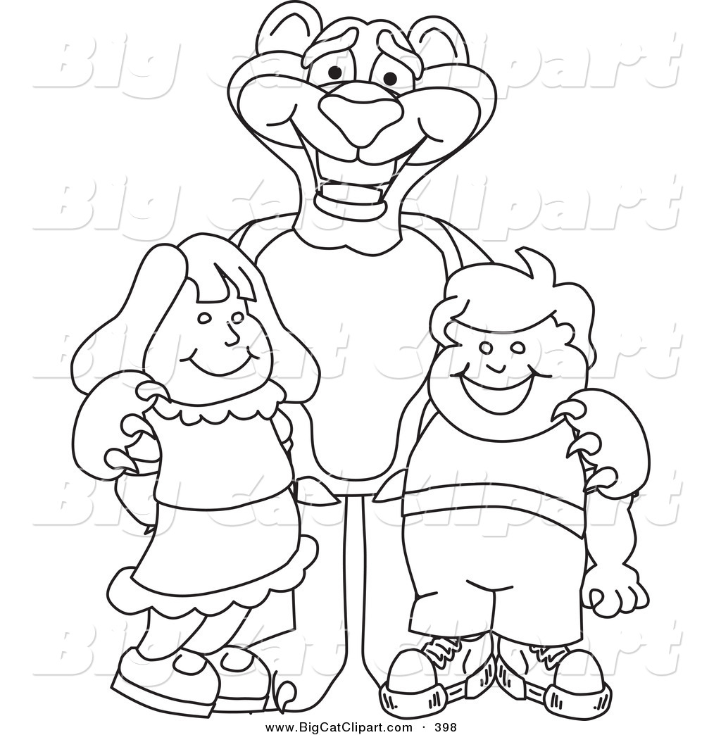 Cartoon Characters Outline : Big cat cartoon vector clipart of a black and white