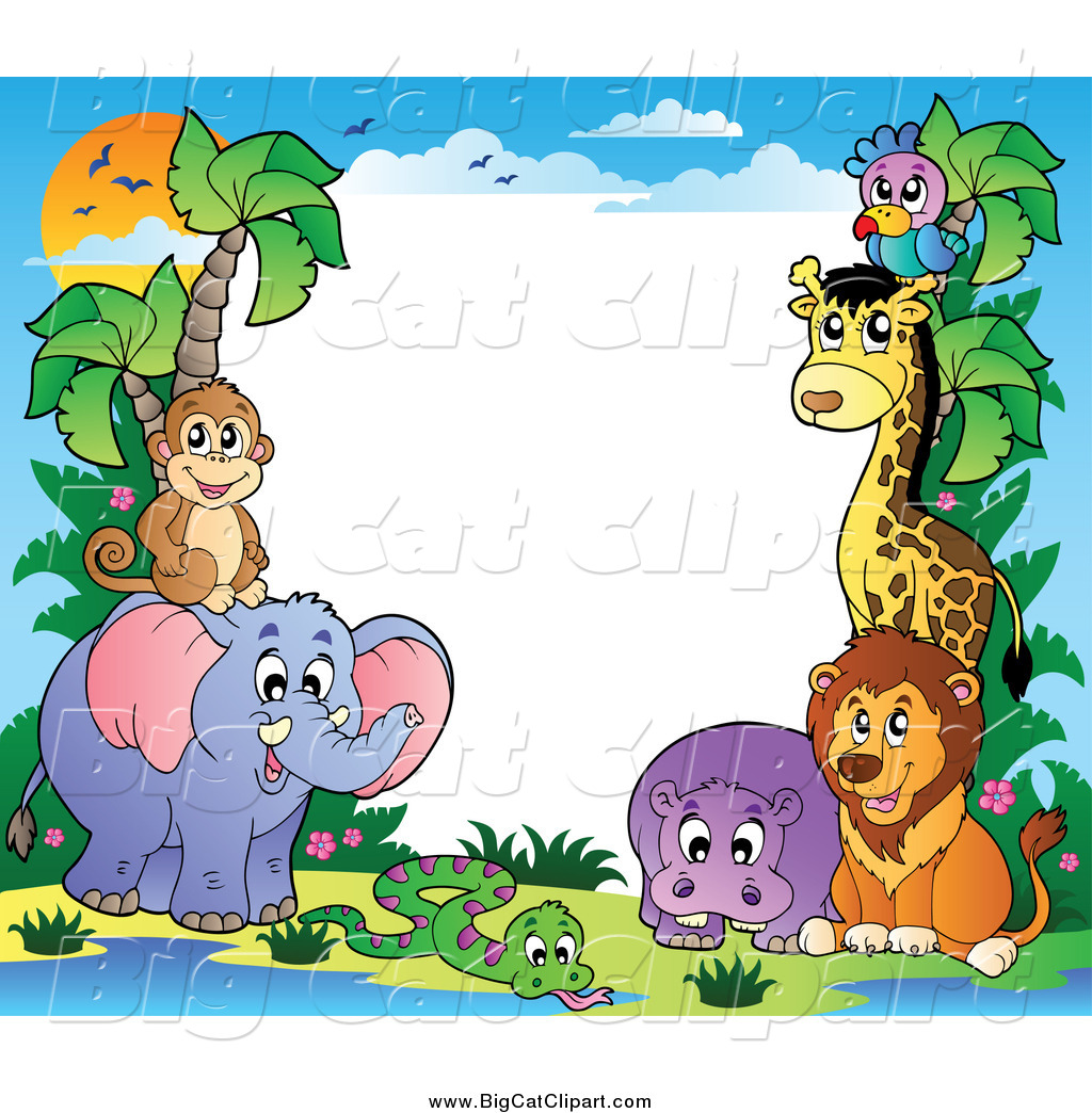 Cartoon Character Border Design : Big cat cartoon vector clipart of a border animals and