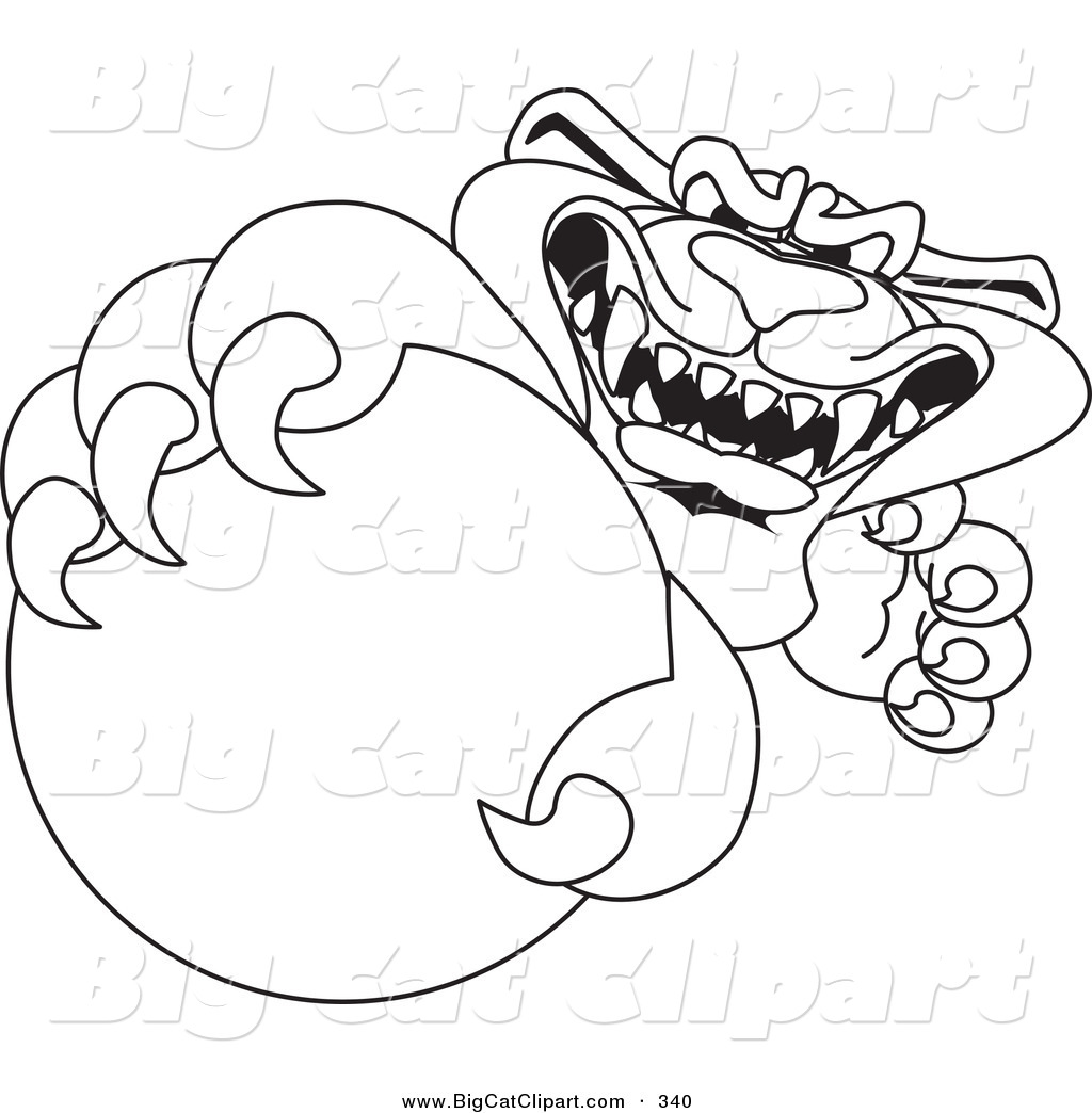 big cat cartoon vector clipart of a coloring page outline design