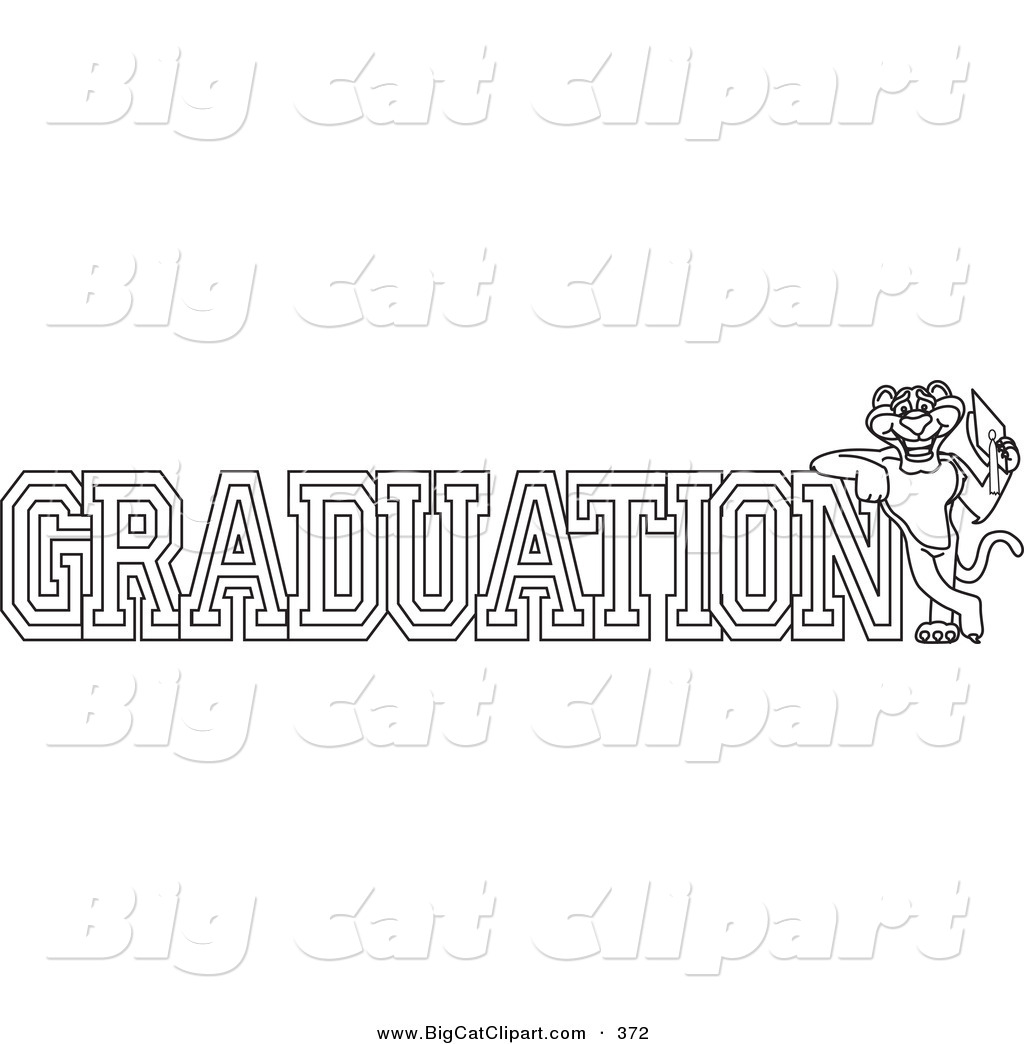 Coloring pages graduation - Big Cat Cartoon Vector Clipart Of A Coloring Page Outline Design Of A Panther Character Mascot