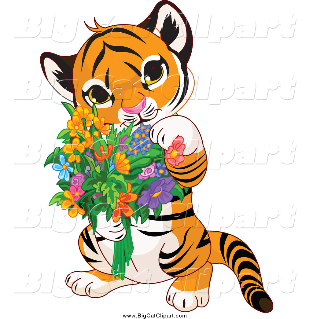 Big Cat Cartoon Vector Clipart of a Cute Baby Tiger Holding ...
