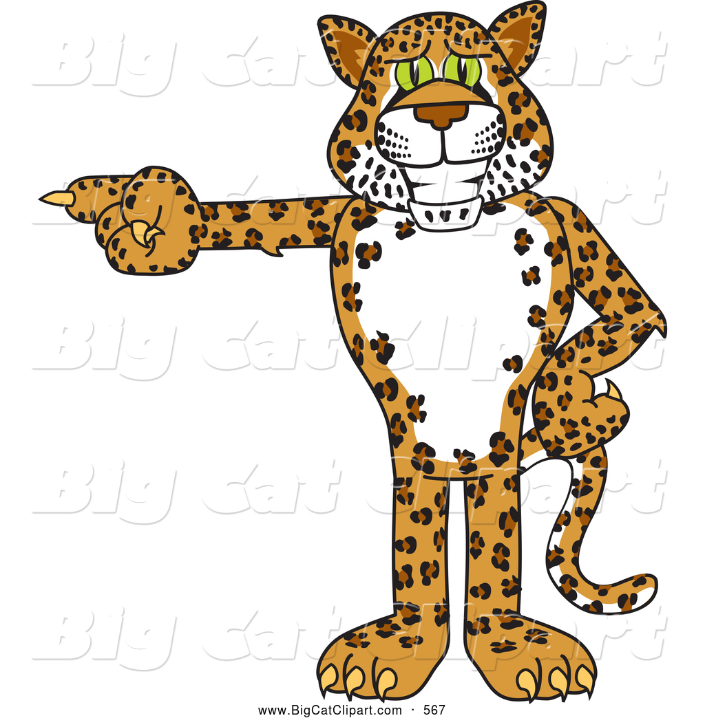 Big Cat Cartoon Vector Clipart of a Cute Cheetah, Jaguar or ... for Clipart Leopard Cute  117dqh