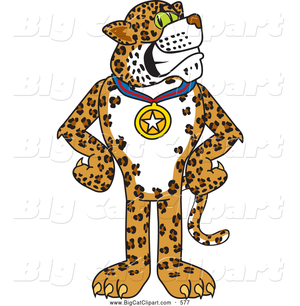 Big Cat Cartoon Vector Clipart of a Cute Cheetah, Jaguar or ... for Clipart Leopard Cute  585eri