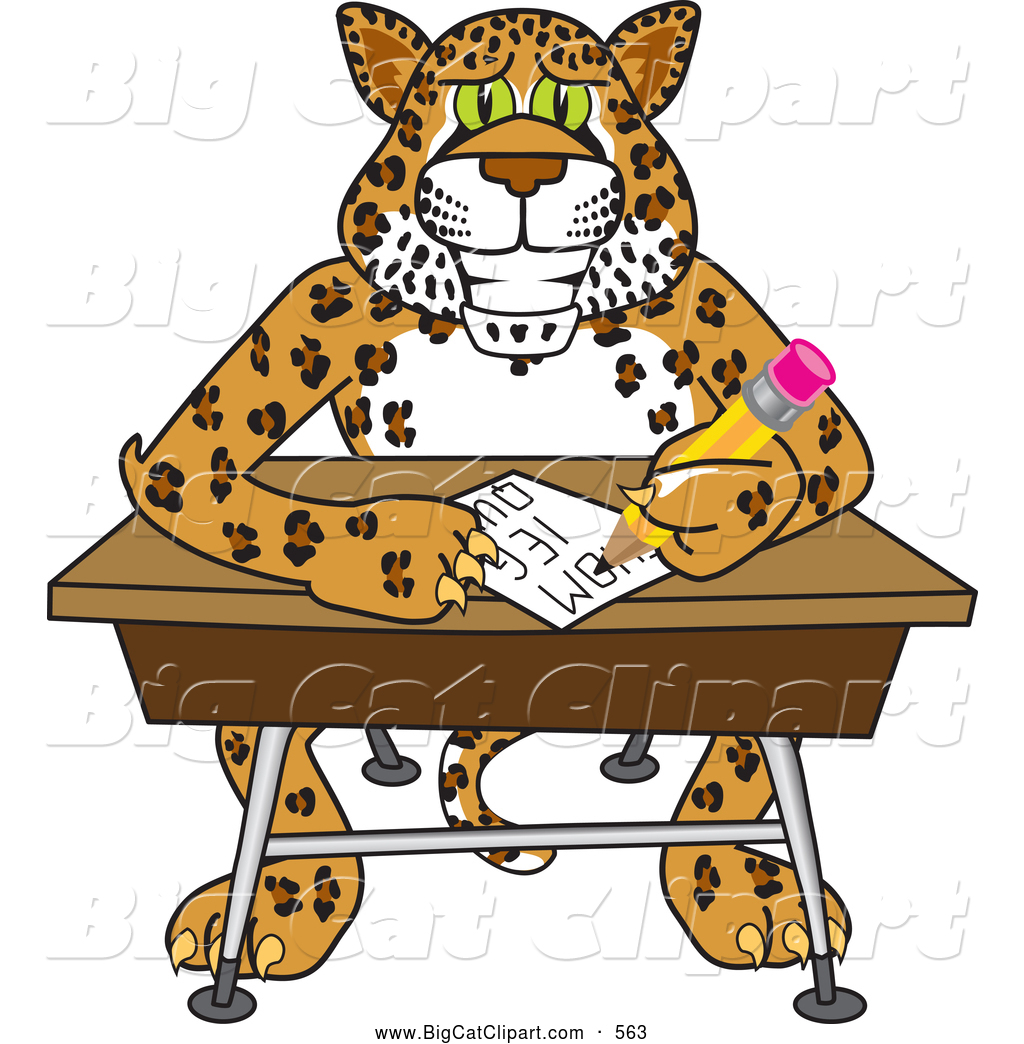 Big Cat Cartoon Vector Clipart of a Cute Cheetah, Jaguar or ... for Clipart Leopard Cute  17lplyp