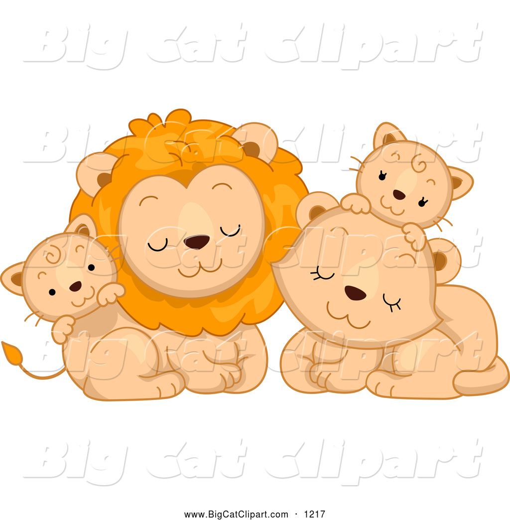 big cat cartoon vector clipart of a cute lion family cuddling by