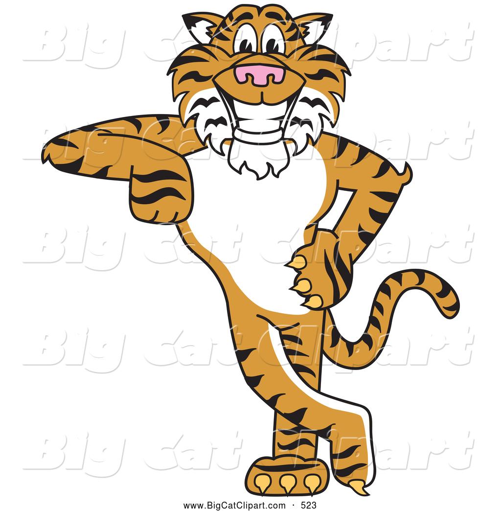 Big Cat Cartoon Vector Clipart of a Friendly Tiger Character ...