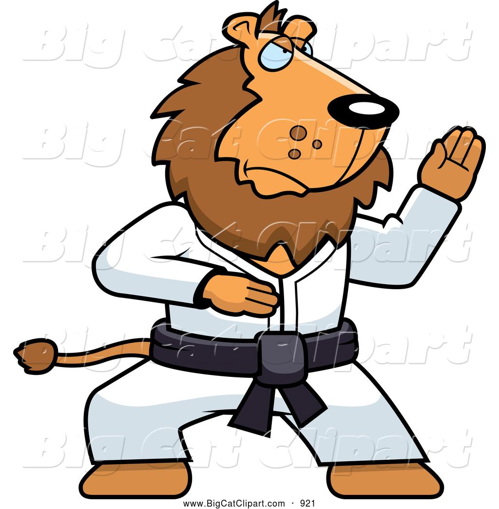 Big Cat Cartoon Vector Clipart of a Karate Lion with a Black BeltBlack Karate Cartoon