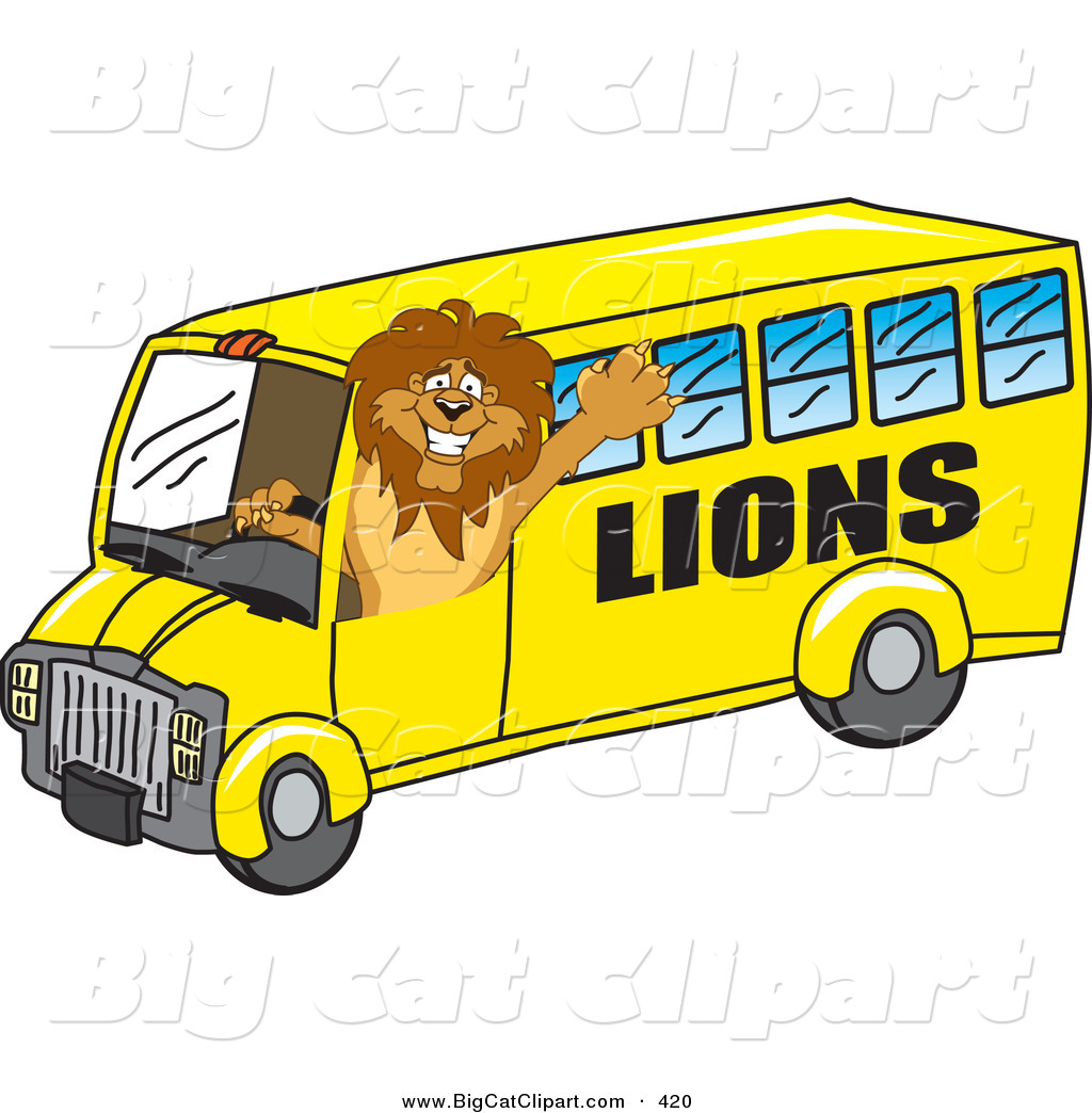 Big cat cartoon vector clipart of a lion character mascot school bus