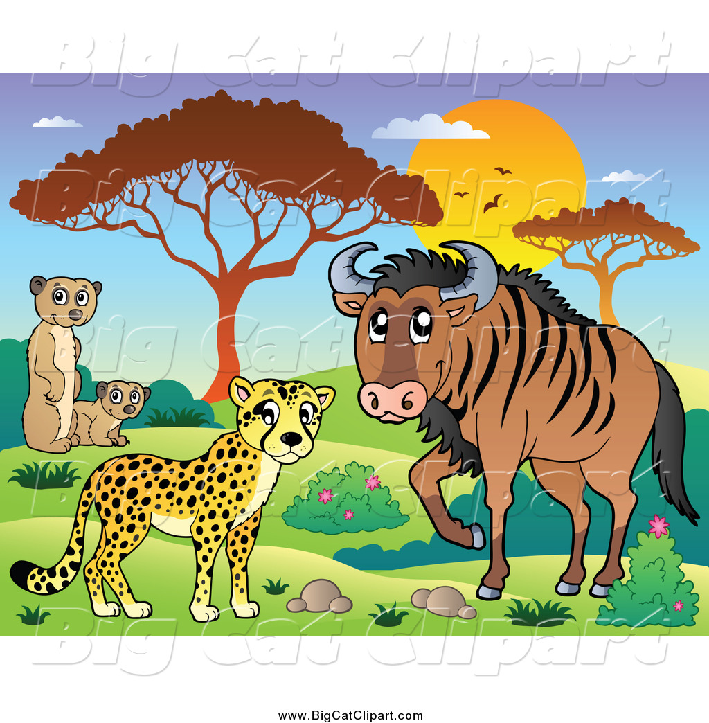 Big Cat Cartoon Vector Clipart of a Safari Cheetah Meerkat and ...