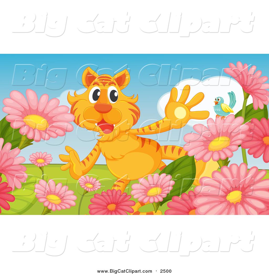 Flower garden cartoon - Big Cat Cartoon Vector Clipart Of A Surprised Tiger In A Flower Garden