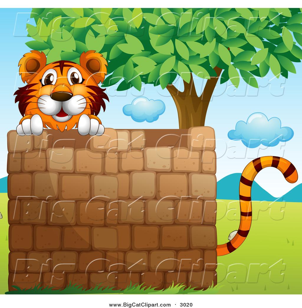 big cat cartoon vector clipart of a tiger behind a brick clipart cat free free clip art cats and kittens
