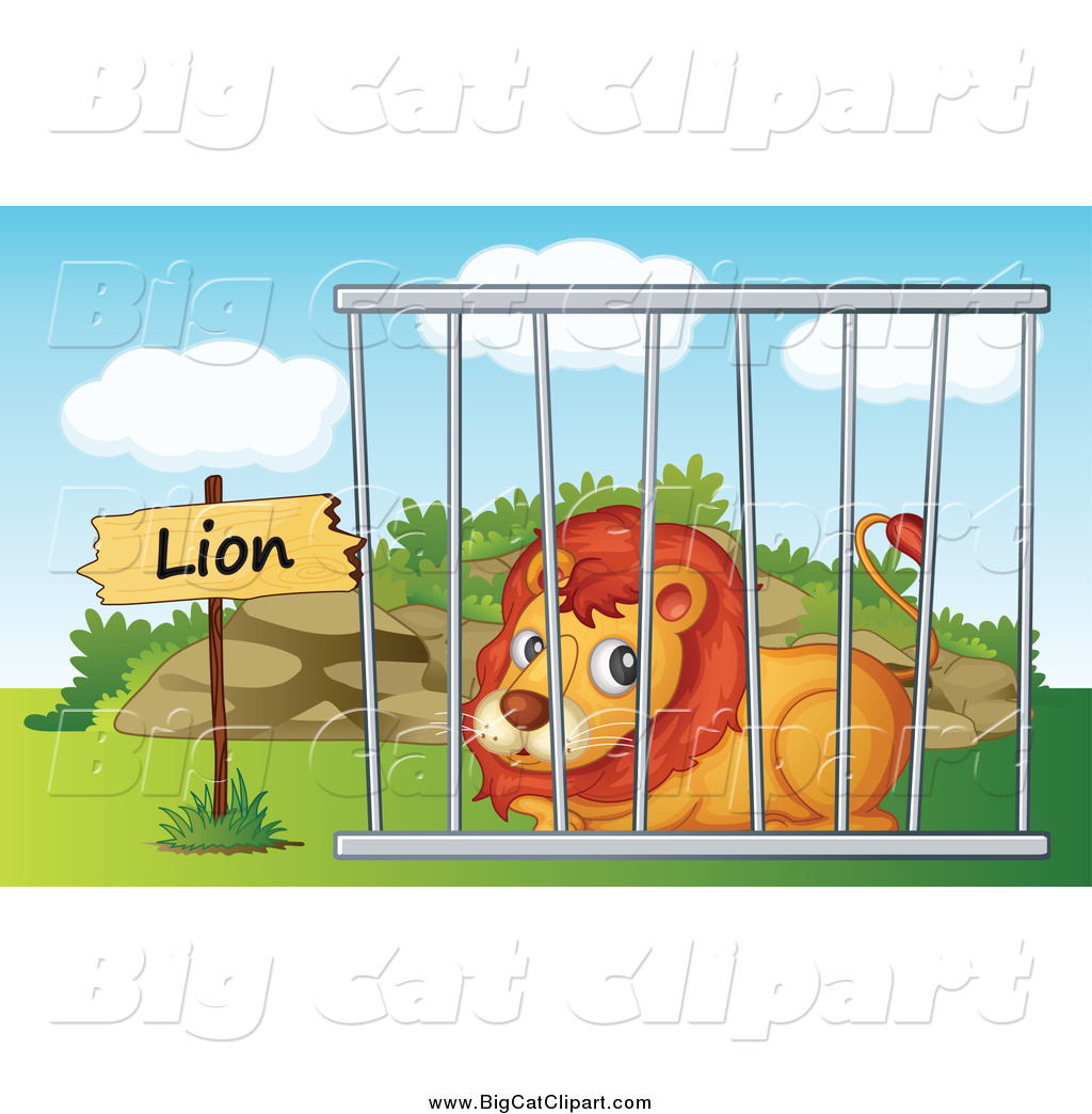 Big Cat Cartoon Vector Clipart of a Zoo Lion Resting in a ...