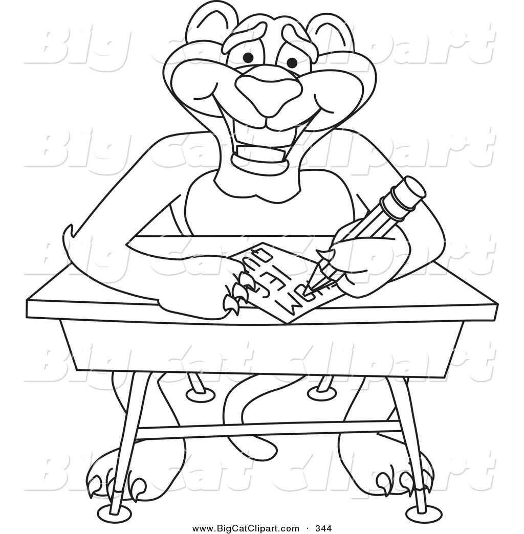 Cartoon Characters Outline : Royalty free school stock big cat designs