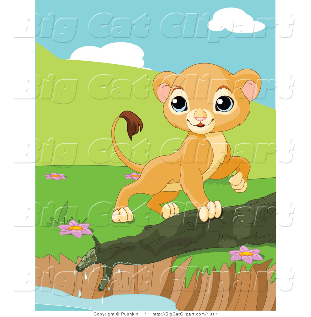 Big Cat Clipart of a Curious Lion Cub Walking by a Pond Edge by ...