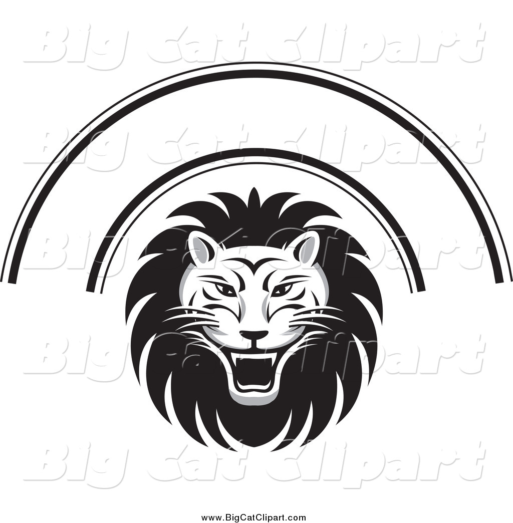 Royalty free black and white stock big cat designs - Clipart visage ...