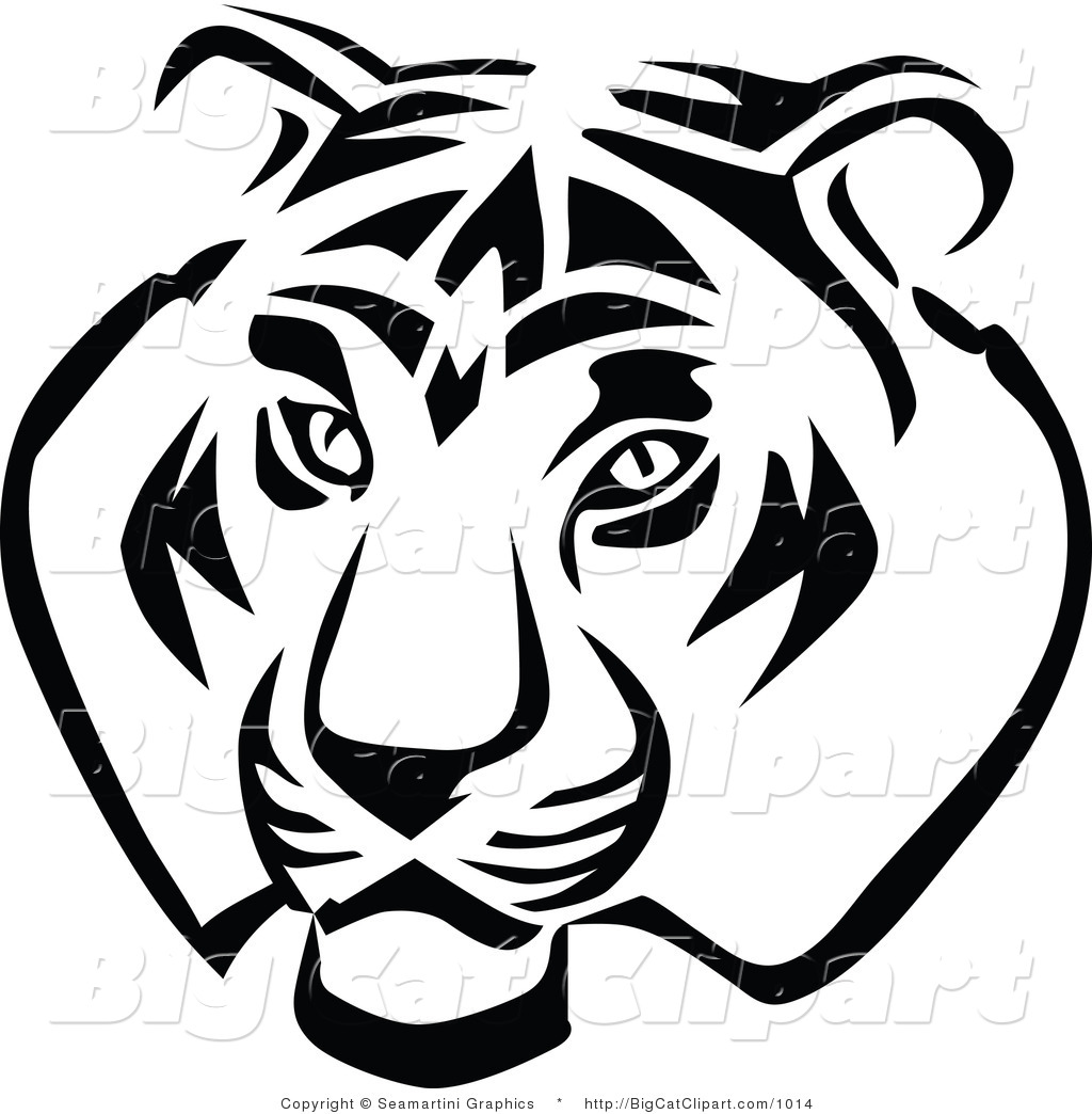free black and white tiger clipart - photo #32