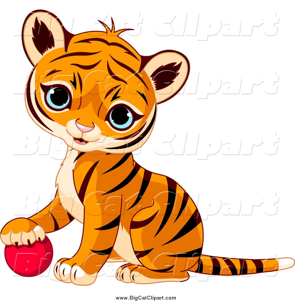 ... Vector Clipart of a Cute Baby Tiger Cub Resting His Paw on a Toy Ball