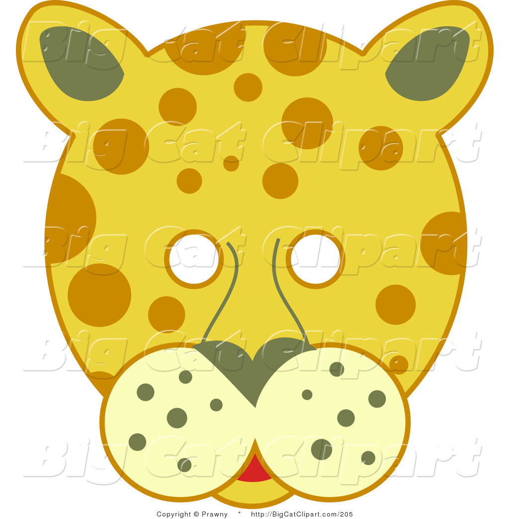 Big Cat Vector Clipart of a Spotted Leopard Face with White Eyes by ... for Clipart Leopard Face  539wja