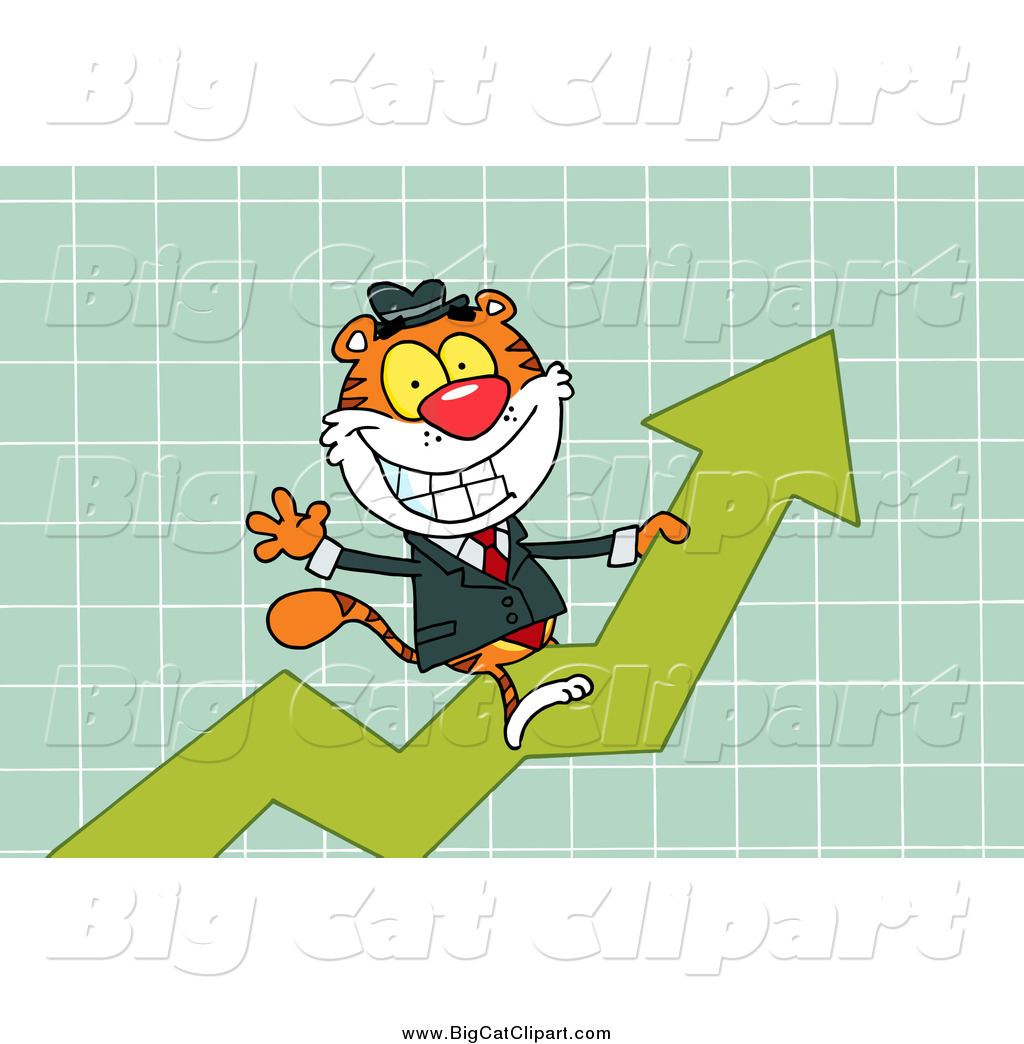 Big Cat Vector Clipart of a Tiger Riding up on a Statistics Arrow ...