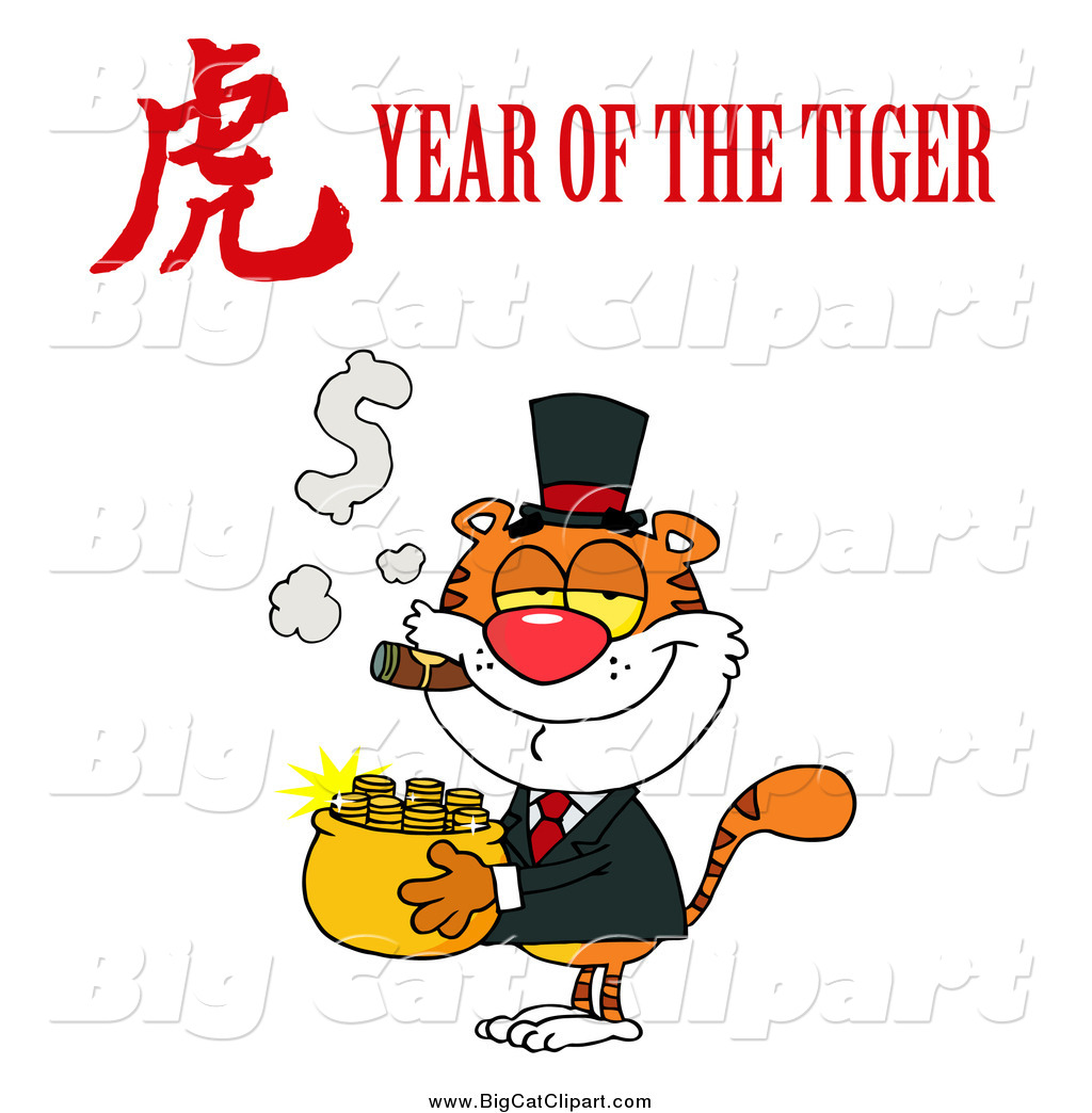 Wealthy tiger with a year of the tiger chinese and text by hit toon