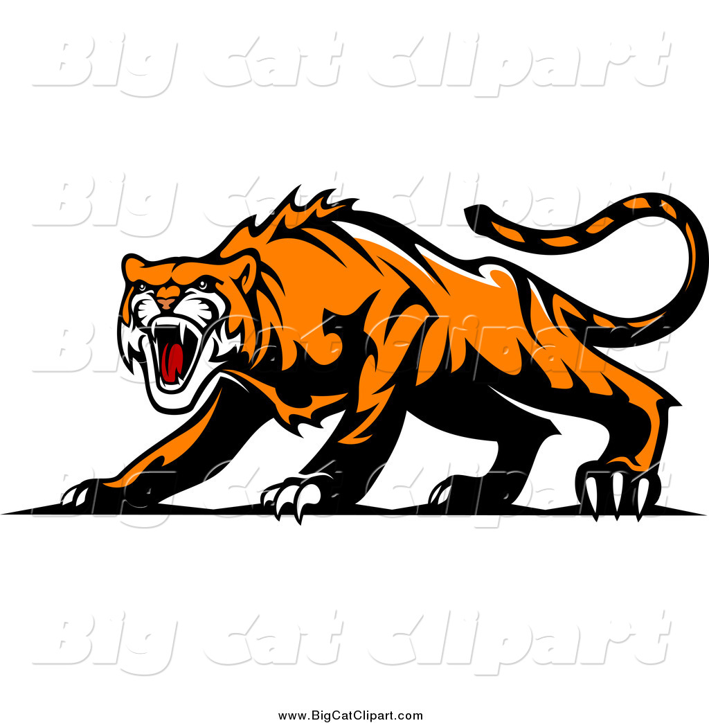 Big Cat Vector Clipart of an Aggressive Tiger by Seamartini Graphics ...