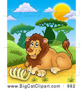 Big Cat Cartoon Clipart of a Happy Male Lion with a Rib Cage by Visekart
