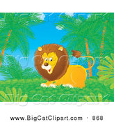 Big Cat Cartoon Clipart of a Playful Lion in a Jungle by Alex Bannykh