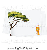 Big Cat Cartoon Vector Clipart of a Acacia Tree and Leopard on a Piece of Paper by Graphics RF