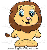 Big Cat Cartoon Vector Clipart of a Adorable Baby Male Lion Standing on His Hind Legs by Cory Thoman