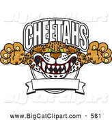 Big Cat Cartoon Vector Clipart of a Aggressive Cheetah School Mascot Banner by Toons4Biz