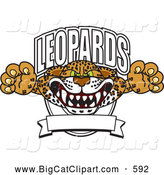 Big Cat Cartoon Vector Clipart of a Aggressive Leopards Character School Mascot Logo by Toons4Biz