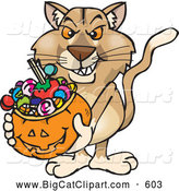 Big Cat Cartoon Vector Clipart of a Aggressive Trick or Treating Puma Holding a Pumpkin Basket Full of Halloween Candy by Dennis Holmes Designs