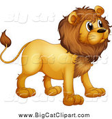Big Cat Cartoon Vector Clipart of a Alert Lion Facing Right by Graphics RF