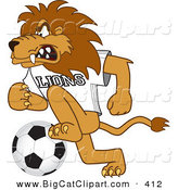 Big Cat Cartoon Vector Clipart of a Angry Lion Character Mascot Playing Soccer by Toons4Biz