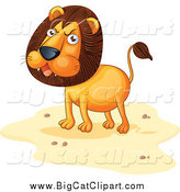 Big Cat Cartoon Vector Clipart of a Angry Lion on Sand by Graphics RF