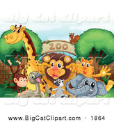 Big Cat Cartoon Vector Clipart of a Animals Gathered at a Zoo Entrance by Graphics RF