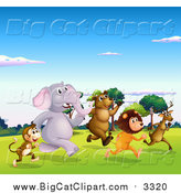Big Cat Cartoon Vector Clipart of a Animals Racing in a Valley by Graphics RF