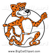 April 11th, 2015: Big Cat Cartoon Vector Clipart of a Athletic Cheetah Running over a Circle by LaffToon