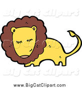Big Cat Cartoon Vector Clipart of a Bashful Yellow and Brown Male Lion by Lineartestpilot