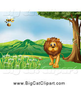 April 15th, 2015: Big Cat Cartoon Vector Clipart of a Bee Flying over a Male Lion near a Path by Graphics RF