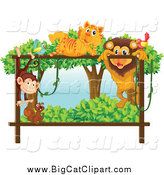 Big Cat Cartoon Vector Clipart of a Bird Tiger Monkey Squirrel and Male Lion Playing on a Forest Frame by Graphics RF