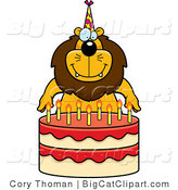 Big Cat Cartoon Vector Clipart of a Birthday Lion by Cory Thoman