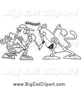 Big Cat Cartoon Vector Clipart of a Black and White Brave Man Wrestling with a Cougar by Toonaday