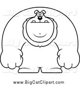 Big Cat Cartoon Vector Clipart of a Black and White Buff Lion by Cory Thoman