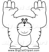 Big Cat Cartoon Vector Clipart of a Black and White Buff Tiger Giving up by Cory Thoman