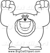 Big Cat Cartoon Vector Clipart of a Black and White Cheering Excited Buff Lion by Cory Thoman