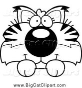 Big Cat Cartoon Vector Clipart of a Black and White Cute Bobcat Cub Hanging over a Sign by Cory Thoman